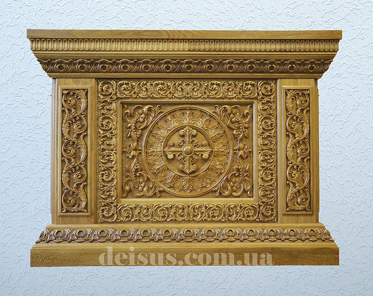 Облачение на престол (риза), с ручной резьбой по дереву, заказать для храма.